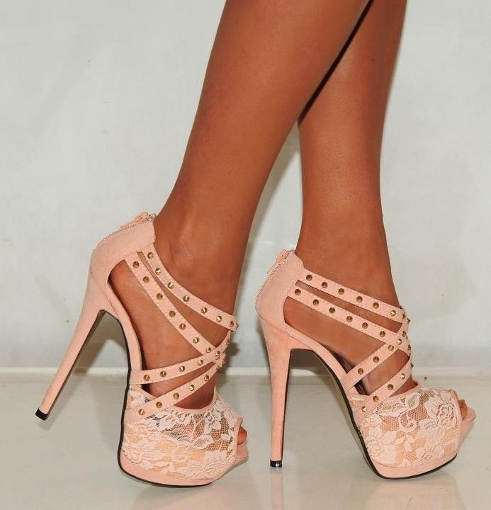 Pink Heels Studded With Lace Pictures Photos and Images for