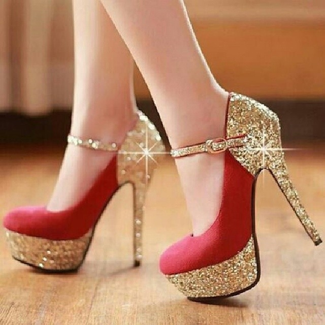 Red And Gold Glitter Heels Pictures Photos and Images for