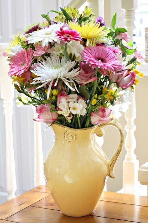 Pitcher Of Fresh Cut Flowers Pictures Photos And Images