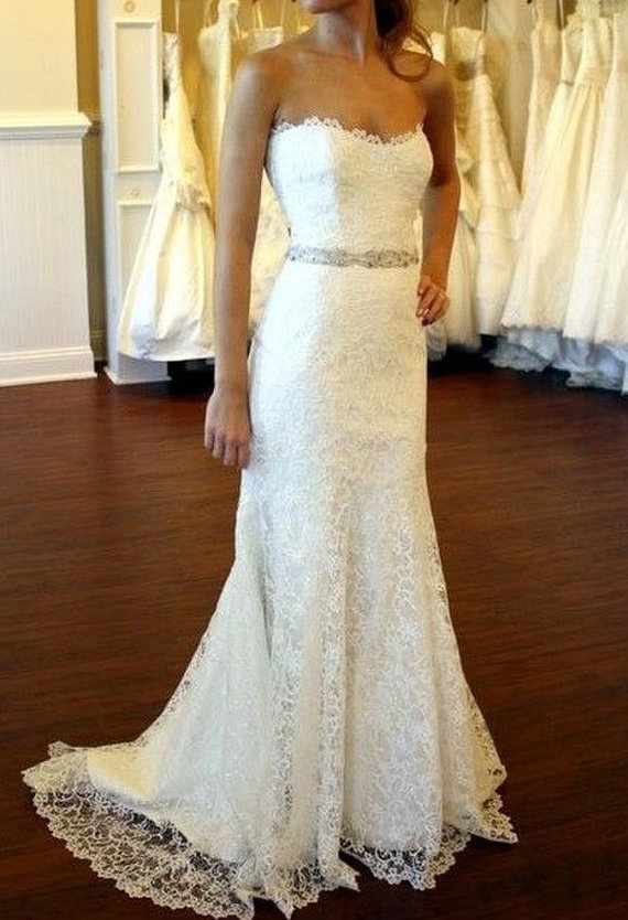 Cheap lace wedding dress lace bridal gown sweetheart neck wedding gown