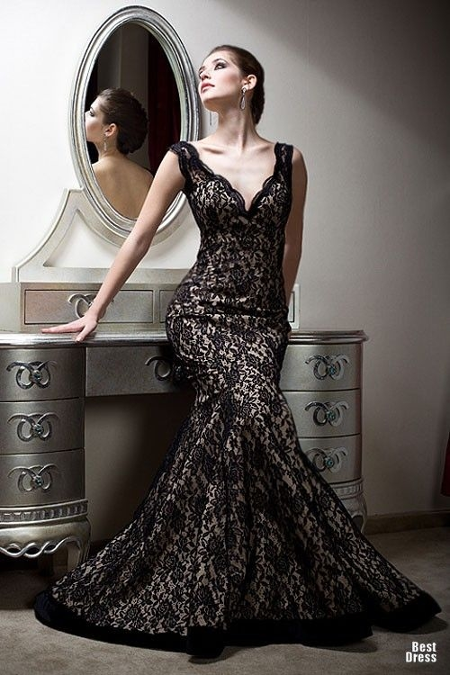 Glamorous Black Lace Evening Gown Pictures, Photos, and Images for ...