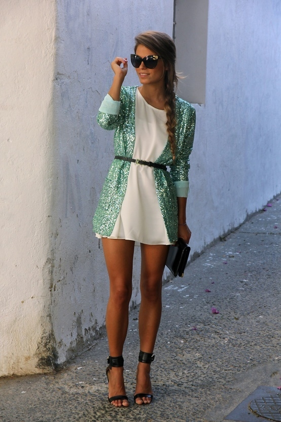 Glitter Blazer Over Mini White Dress Pictures Photos And