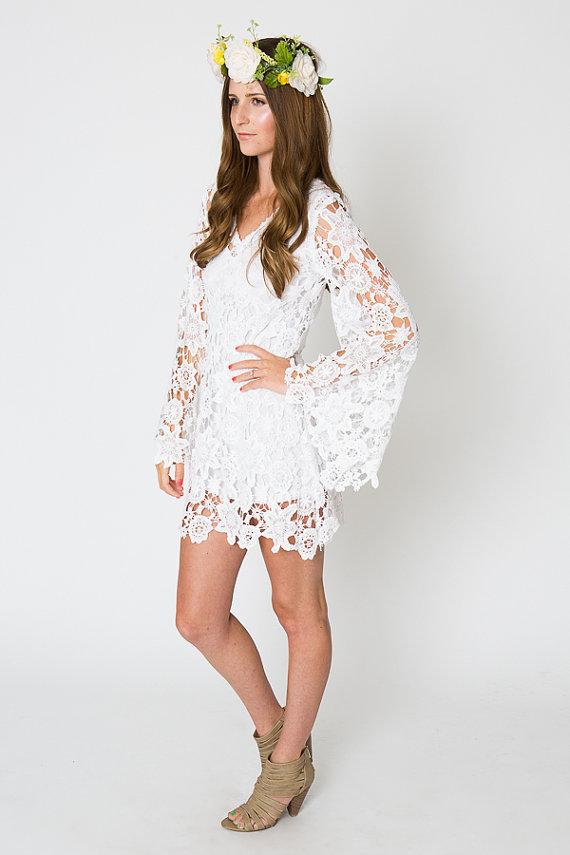 LACE mini dress BELL SLEEVE / bohemian wedding dress / destination ...