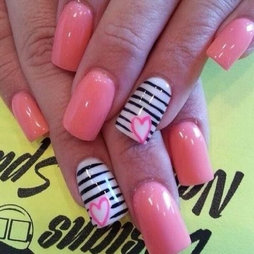 Pink Manicured Stripe Nails Pictures, Photos, And Images