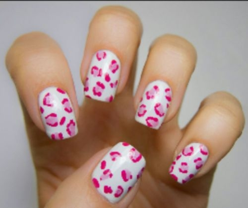 Pink Cheetah Print Nails