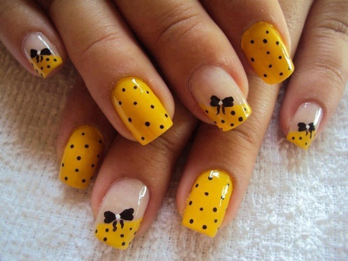 Yellow And Black Bow Polka Dot Nail Art Pictures Photos And Images