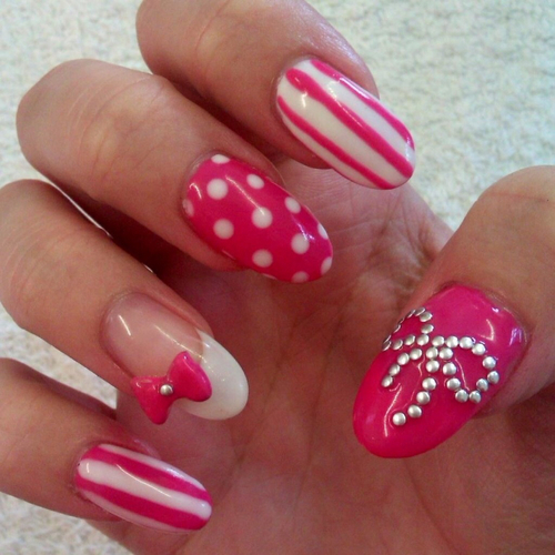Pink And White Nail Art Designs Pictures, Photos, And