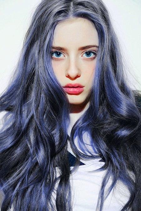 แองเจิล สกาย 80033-Long-Curls-Blue-Hair