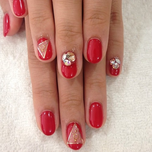 red and gold designed nails pictures photos and images