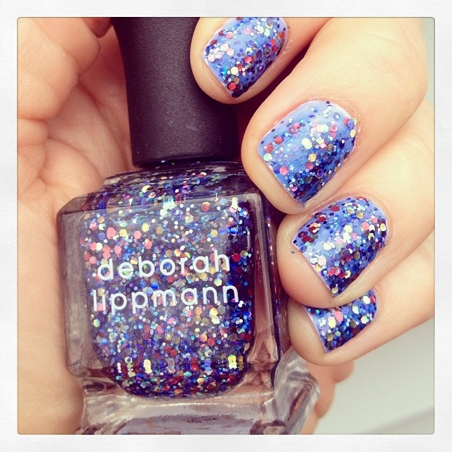 Blue Colorful Glitter Nails