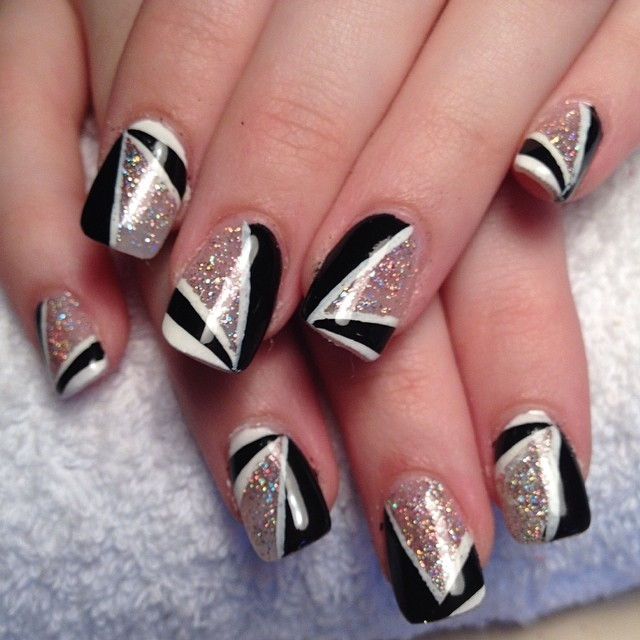 Black and white glitter nails pictures photos and images for black and white glitter nails prinsesfo Gallery