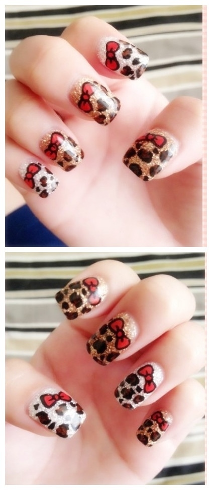 Leopard Print Bow Nails Pictures, - 146.7KB