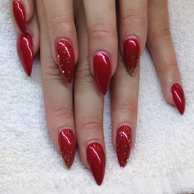 red stiletto nails with gold glitter pictures photos and