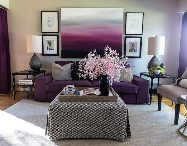 Modern Living Room With Purple Tones Pictures Photos And