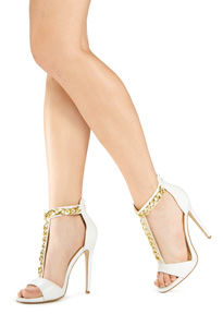 White High Heel Sandals With Gold T-chain Pictures, Photos, and ...
