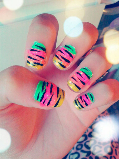 Neon Zebra Print Nails Pictures, Photos, and Images for