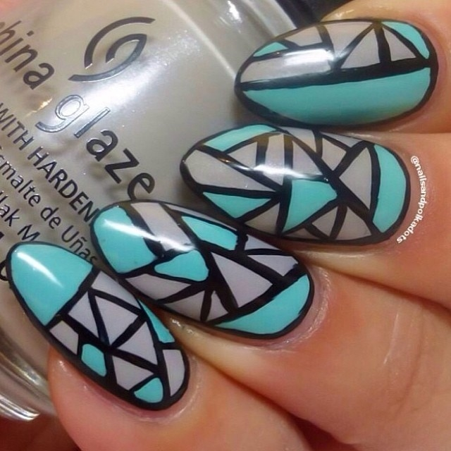 Turquoise And Grey Aztec Nails Pictures Photos And Images For