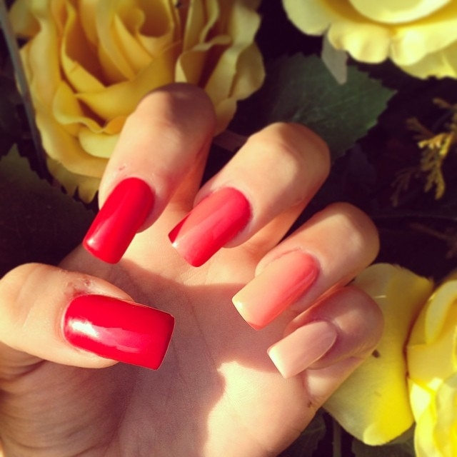 Square Red And Peach Nails Pictures, Photos, and Images for Facebook ...