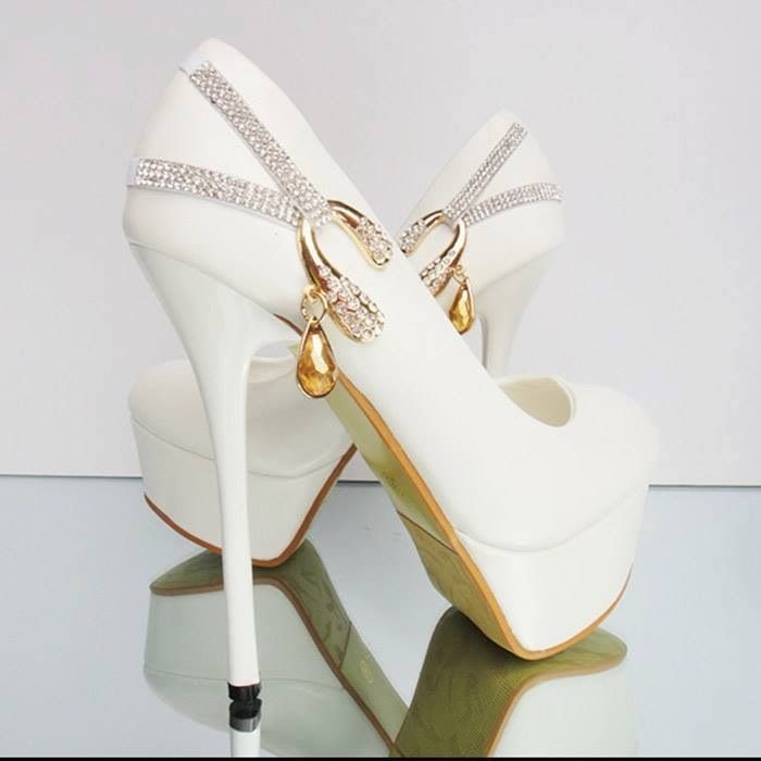White Wedding Pumps With Gold   Diamond Bling Pictures 7cf053dd333a