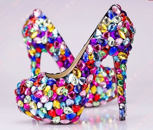 Bright Colorful Rhinestone Pumps Pictures Photos And Images For