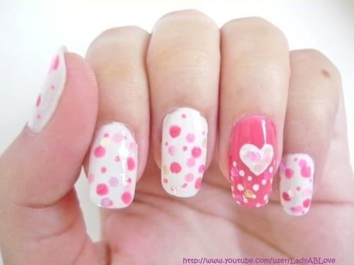 Pink And White Polkadot Nails