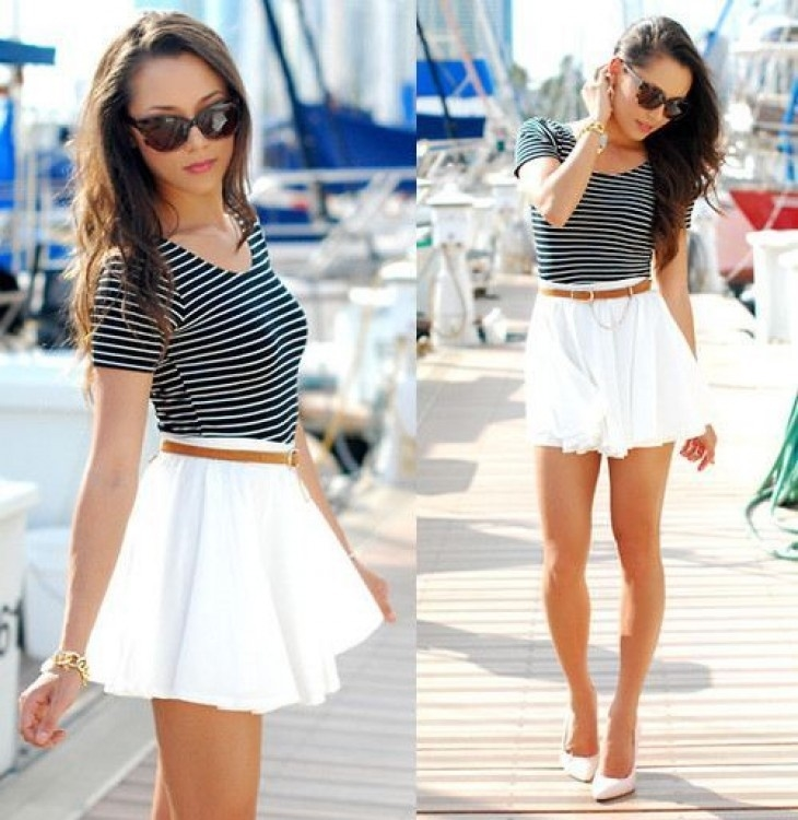 White Mini Skirt With Black T-Shirt Pictures, Photos, and Images ...