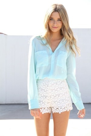 White Lace Mini Skirt with Sky Blue Blouse