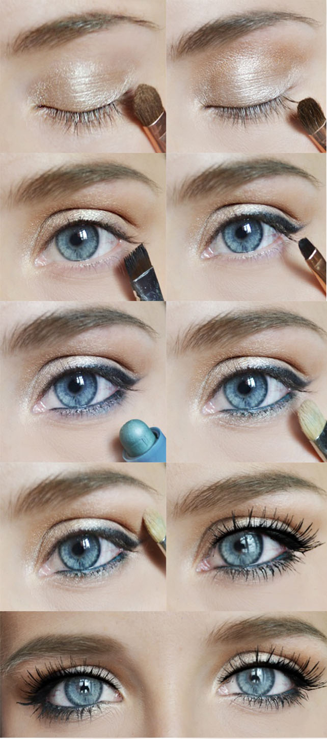 Макияж глаз серо-голубых