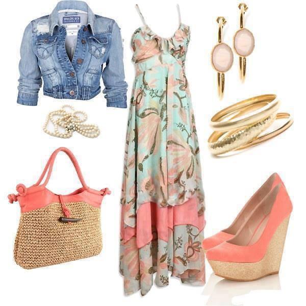 summer dress with denim jacket