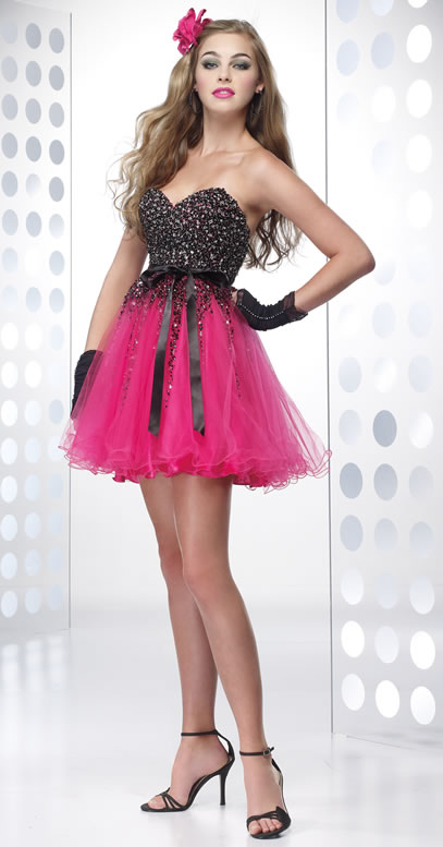 Pink Black Short Strapless Dress Pictures Photos And Images For