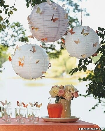 Butterflies on white paper lanterns pictures photos and for White paper butterflies