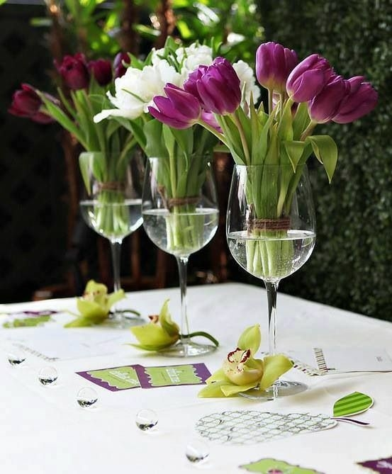 Glass Centerpiece Quotes : Wine glass flower centerpieces pictures photos and