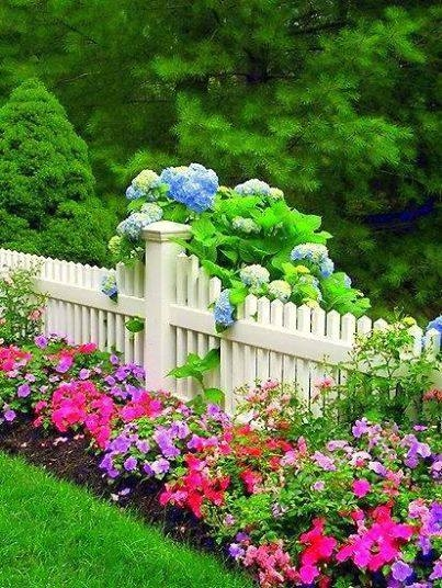 Beautiful flower bed along fence pictures photos and for Beautiful flower beds