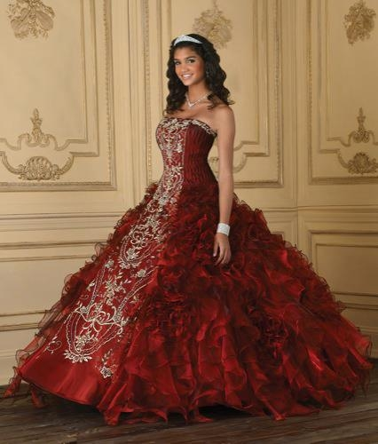 Beautiful Red Gown With White Embroidery Pictures, Photos, and ...