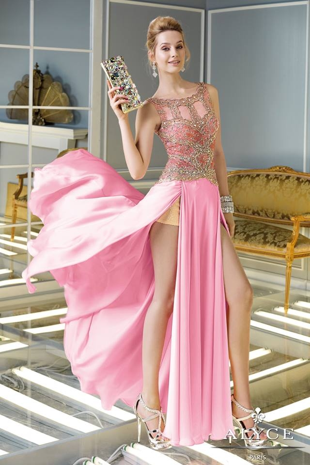 Pink Dress With Sequin Top And Slits On Both Sides