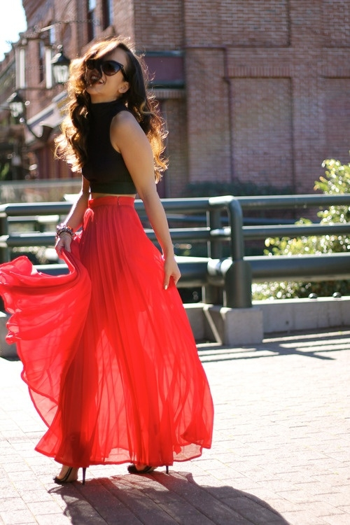 Summer Red Maxi Skirt Pictures Photos And Images For