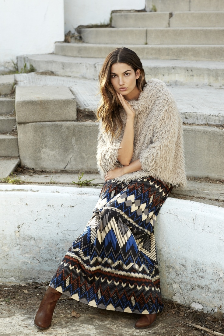 Patterned Maxi Skirt With Faux Fur & Boots Pictures, Photos, and ...