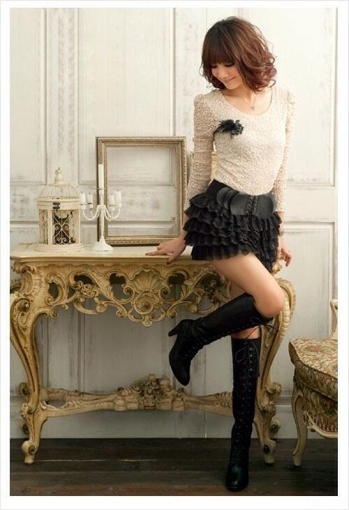Dressy Short Skirt With Lace Up Boots Pictures Photos