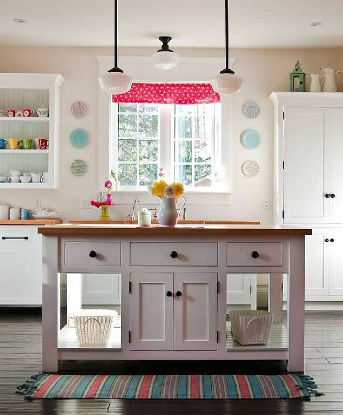 White Kitchen With Pops Of Color Pictures, Photos, And