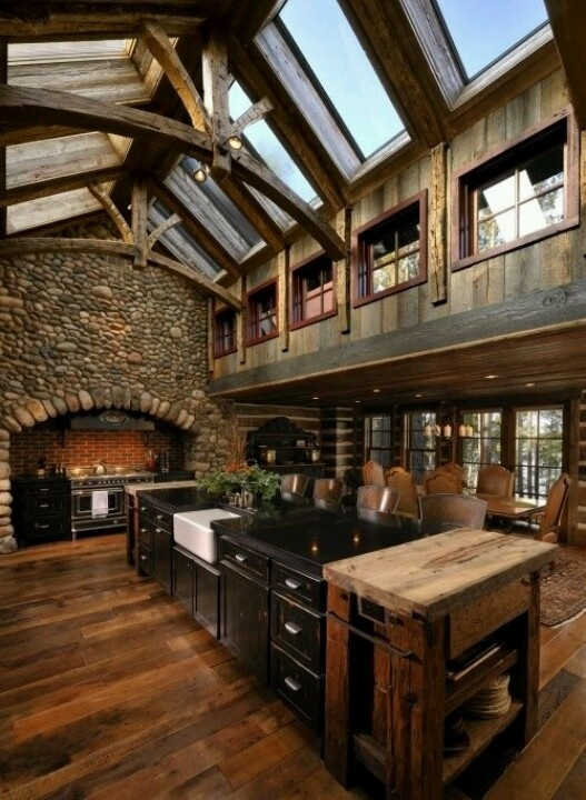 Rustic Kitchen With Vaulted Ceiling Beams Pictures Photos and