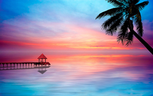 Tropical Island Beach Ocean Sunset: Beautiful Tropical Sunset Pictures, Photos, And Images For