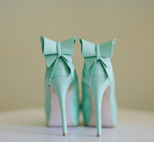 Mint Green High Heels With Bows Pictures, Photos, And