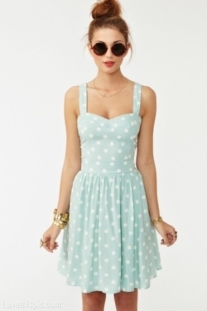 Cute Mint Green With Dots Summer Dress Pictures, Photos, and ...