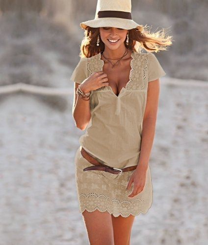 Beige Summer Dress With Belt Pictures Photos And Images