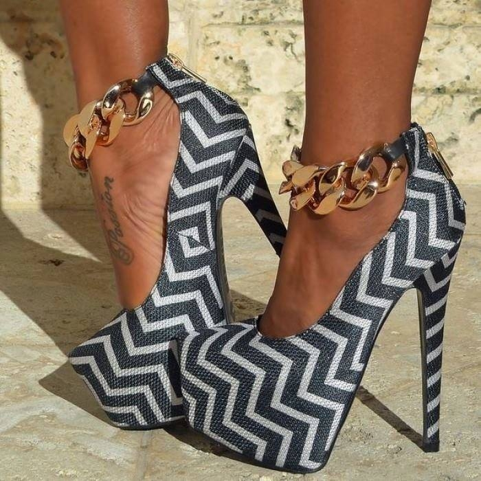 chevron print high heels with gold anklets pictures  photos  and images for facebook  tumblr