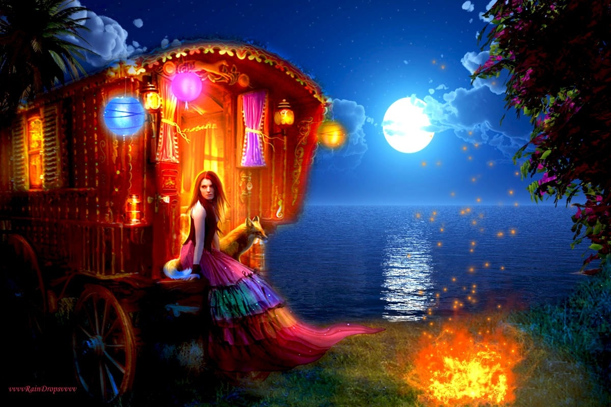 Colorful Painting Of A Gypsy Girl Pictures, Photos, and ...