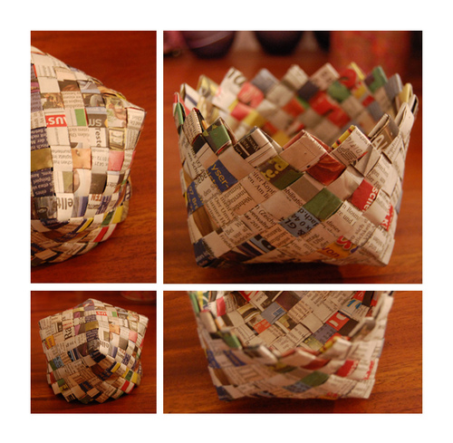 How To Weave A Basket Diy : Diy woven newspaper basket pictures photos and images