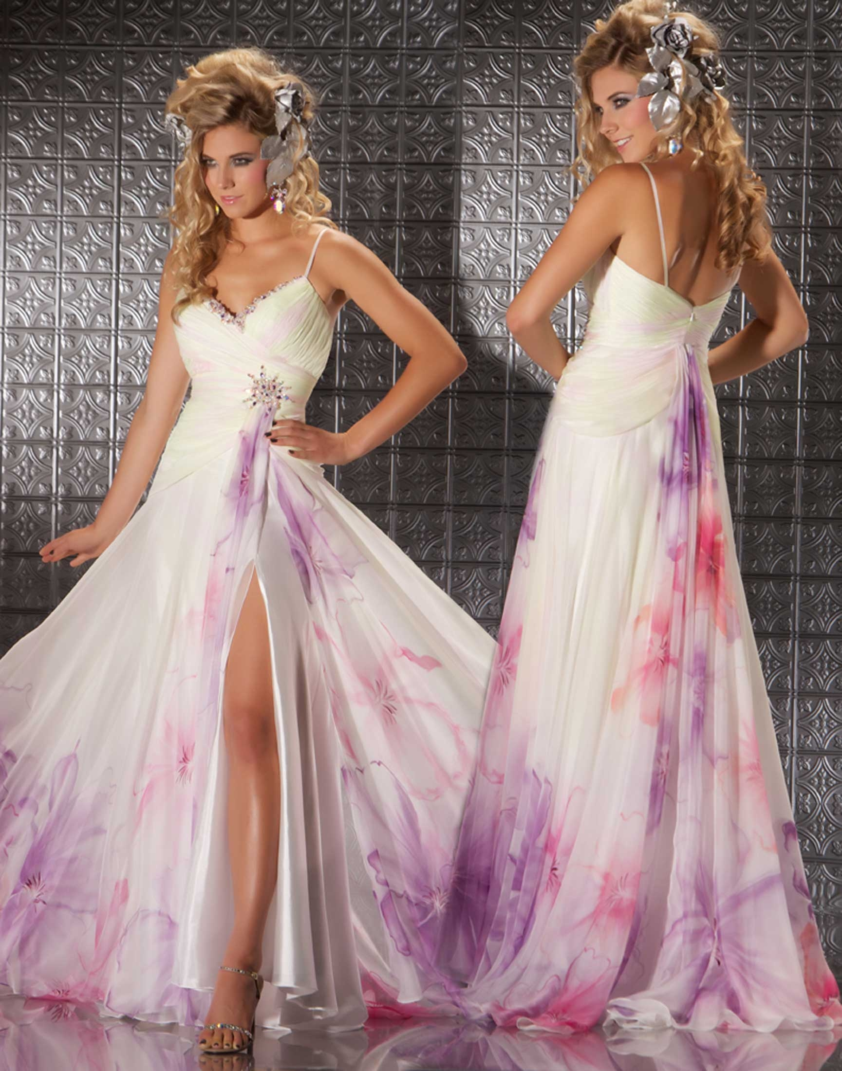 6603aed233c Pretty White Dress Splashed With Purple   Red Pictures