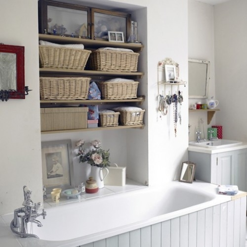 Built in shelving for bathroom storage pictures photos for Bathroom storage ideas b q