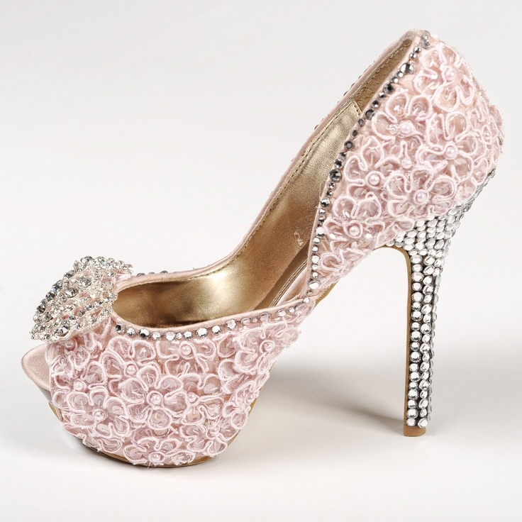 Pink High Heels With Rhinestones